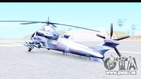 Denel AH-2 Rooivalk Blue pour GTA San Andreas sur la vue arrière gauche