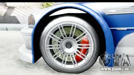 NFS: MW - BMW M3 GTR für GTA San Andreas Rückansicht