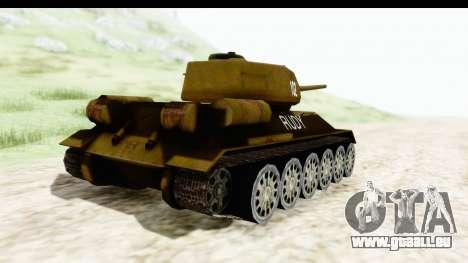T-34-85 Rudy 102 pour GTA San Andreas sur la vue arrière gauche