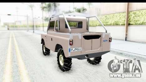 Land Rover Pickup Series3 pour GTA San Andreas sur la vue arrière gauche