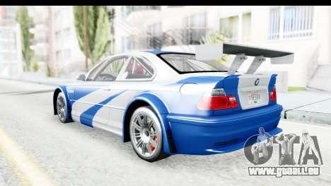 NFS: MW - BMW M3 GTR pour GTA San Andreas sur la vue arrière gauche