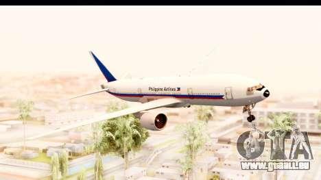 Boeing 777-200LR Philippine Airline Retro Livery pour GTA San Andreas sur la vue arrière gauche