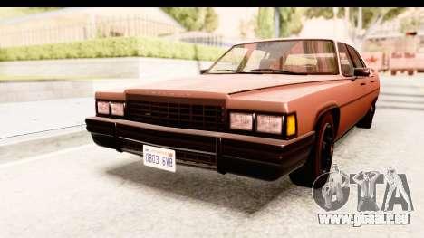 GTA 5 Albany Emperor SA Style pour GTA San Andreas sur la vue arrière gauche