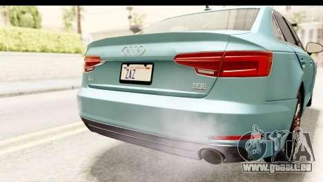 Audi A4 TFSI Quattro 2017 pour GTA San Andreas vue de dessous