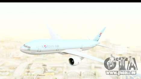 Boeing 777-200ER Korean Air für GTA San Andreas zurück linke Ansicht
