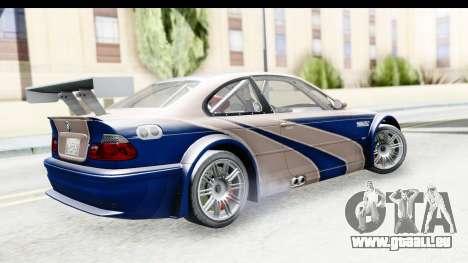 NFS Carbon - BMW M3 GTR pour GTA San Andreas laissé vue