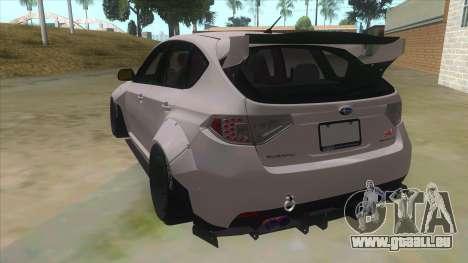 2008 Subaru WRX Widebody L3D pour GTA San Andreas sur la vue arrière gauche