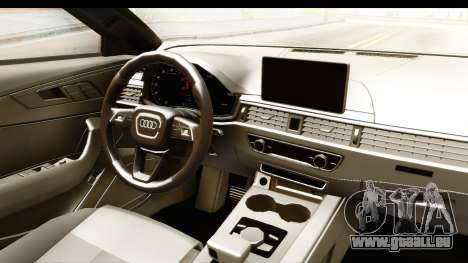 Audi A4 TFSI Quattro 2017 pour GTA San Andreas vue intérieure
