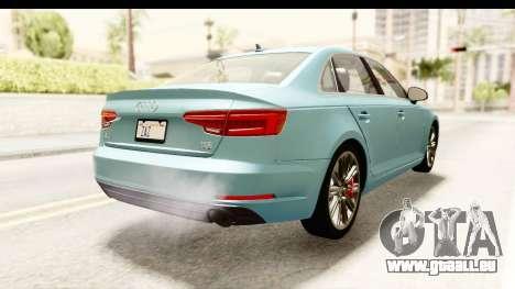 Audi A4 TFSI Quattro 2017 für GTA San Andreas zurück linke Ansicht