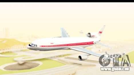 Lockheed L-1011-100 TriStar Trans World Airlines pour GTA San Andreas sur la vue arrière gauche