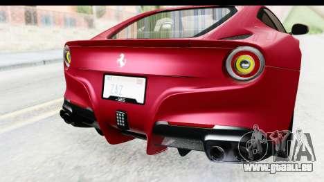 Ferrari F12 Berlinetta 2014 für GTA San Andreas Unteransicht