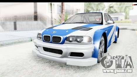 NFS: MW - BMW M3 GTR pour GTA San Andreas vue de droite