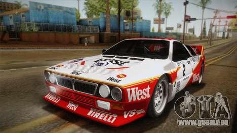 Lancia Rally 037 Stradale (SE037) 1982 Dirt PJ3 für GTA San Andreas zurück linke Ansicht