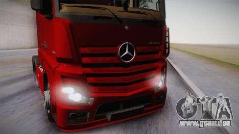 Mercedes-Benz Actros Mp4 6x4 v2.0 Bigspace v2 pour GTA San Andreas sur la vue arrière gauche