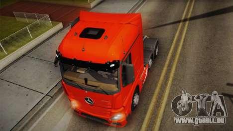 Mercedes-Benz Actros Mp4 6x2 v2.0 Steamspace v2 pour GTA San Andreas vue arrière
