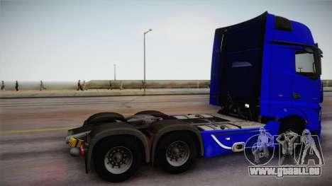 Mercedes-Benz Actros Mp4 6x4 v2.0 Gigaspace pour GTA San Andreas laissé vue