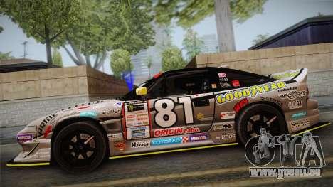 D1GP Nissan 180SX BWest Origin Labo für GTA San Andreas zurück linke Ansicht