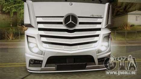 Mercedes-Benz Actros Mp4 6x2 v2.0 Bigspace v2 pour GTA San Andreas sur la vue arrière gauche