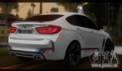 BMW X6M F86 M Performance pour GTA San Andreas laissé vue
