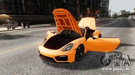 Porsche Boxster GTS 2014 pour GTA 4 est une vue de l'intérieur