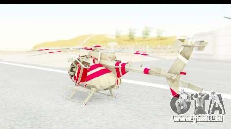 Smaga Sparrow Helis Military Version für GTA San Andreas zurück linke Ansicht