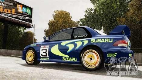 Subaru Rally WRC Impreza 98 v8 pour GTA 4 Vue arrière de la gauche