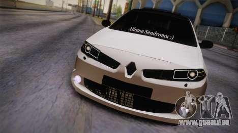 Renault Megan pour GTA San Andreas sur la vue arrière gauche