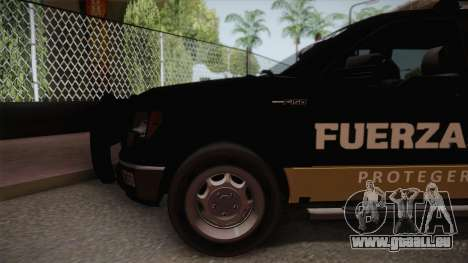 Ford F-150 de la Fuerza Civil de Nuevo Leon für GTA San Andreas zurück linke Ansicht