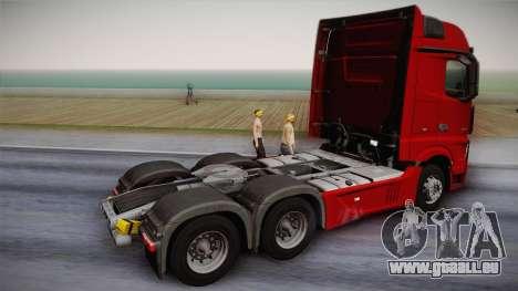 Mercedes-Benz Actros Mp4 6x4 v2.0 Bigspace v2 pour GTA San Andreas laissé vue