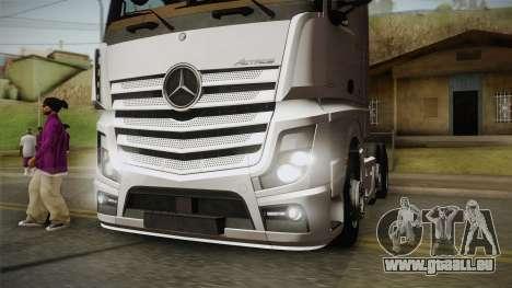 Mercedes-Benz Actros Mp4 6x2 v2.0 Bigspace v2 für GTA San Andreas Rückansicht