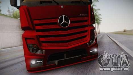 Mercedes-Benz Actros Mp4 6x4 v2.0 Bigspace v2 pour GTA San Andreas vue intérieure