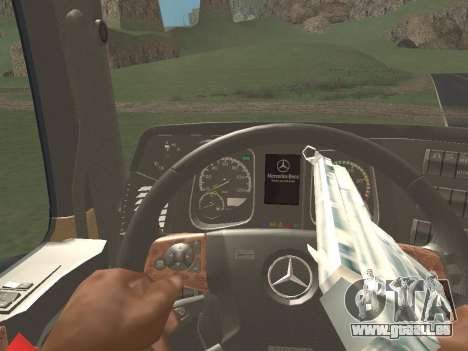 Mercedes-Benz Actros Mp4 6x2 v2.0 Bigspace v2 pour GTA San Andreas vue intérieure