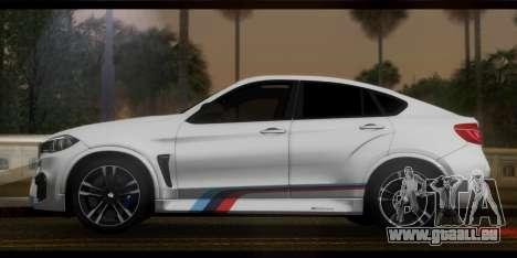 BMW X6M F86 M Performance pour GTA San Andreas sur la vue arrière gauche