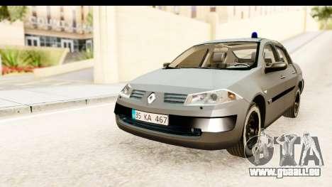 Renault Megane 2 Sedan Unmarked Police Car für GTA San Andreas zurück linke Ansicht