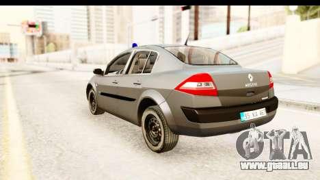 Renault Megane 2 Sedan Unmarked Police Car pour GTA San Andreas laissé vue