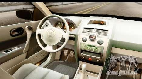 Renault Megane 2 Sedan Unmarked Police Car pour GTA San Andreas vue intérieure
