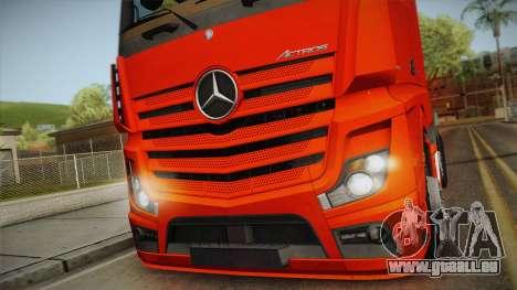 Mercedes-Benz Actros Mp4 6x2 v2.0 Steamspace v2 pour GTA San Andreas sur la vue arrière gauche