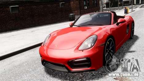 Porsche Boxster GTS 2014 pour GTA 4 Vue arrière de la gauche