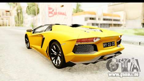 Lamborghini Aventador LP700-4 Roadster v2 für GTA San Andreas zurück linke Ansicht