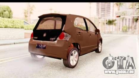 Honda Brio pour GTA San Andreas sur la vue arrière gauche