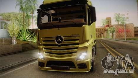 Mercedes-Benz Actros Mp4 v2.0 Tandem Big pour GTA San Andreas sur la vue arrière gauche
