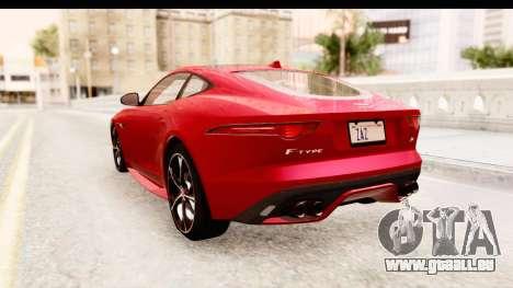 Jaguar F-Type R Coupe 2015 für GTA San Andreas zurück linke Ansicht