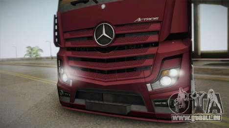 Mercedes-Benz Actros Mp4 4x2 v2.0 Bigspace v2 pour GTA San Andreas sur la vue arrière gauche