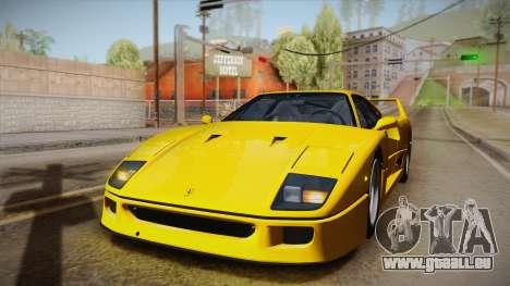 Ferrari F40 (EU-Spec) 1989 IVF pour GTA San Andreas vue de côté