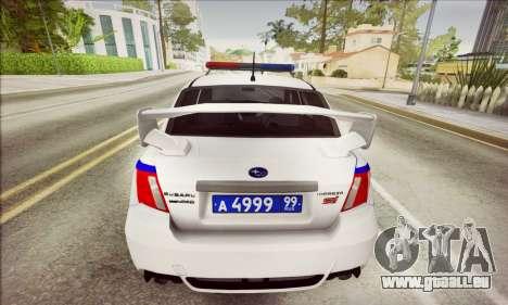 Subaru Impreza WRX STI Police für GTA San Andreas zurück linke Ansicht