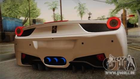 Ferrari 458 Spider für GTA San Andreas Rückansicht