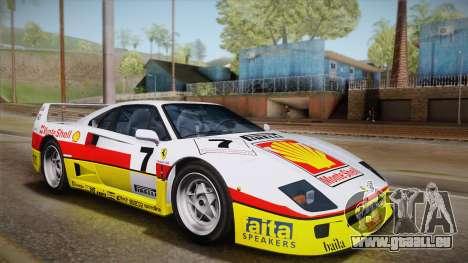 Ferrari F40 (US-Spec) 1989 IVF pour GTA San Andreas vue de dessous