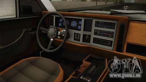 Jeep Grand Wagoneer Limite 1986 pour GTA San Andreas vue intérieure