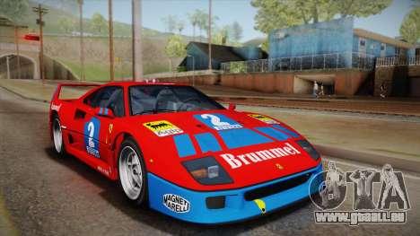 Ferrari F40 (EU-Spec) 1989 HQLM pour GTA San Andreas vue arrière