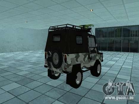 LUAZ 969М Hiver camo pour GTA San Andreas sur la vue arrière gauche